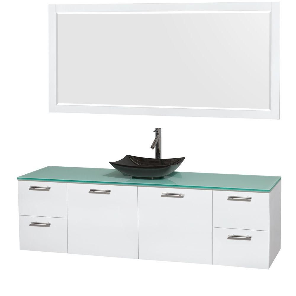 Amare 72-inch W Vanity in White with Glass Top with Black Basin and Mirror