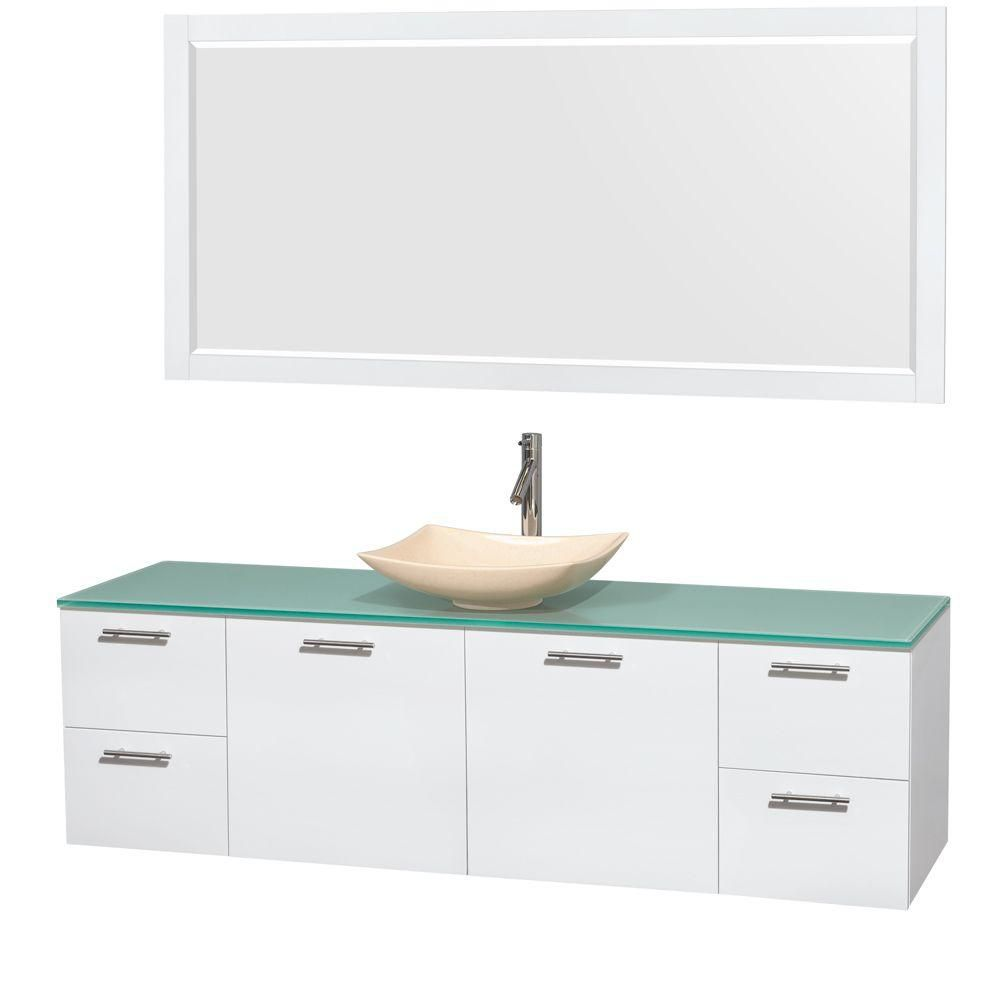 Amare 72-inch W Vanity in White with Glass Top with Ivory Basin and Mirror