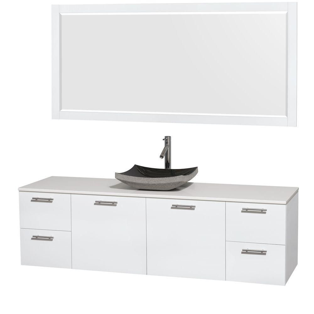 Amare 72-inch W Vanity in White with Solid Top with Black Basin and Mirror