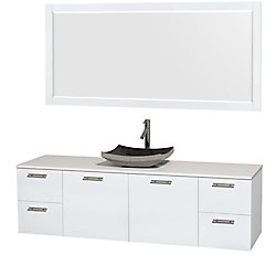 Wyndham Collection Amare 72-inch W 4-Drawer 2-Door Wall Mounted Vanity in White With Artificial Stone Top in White
