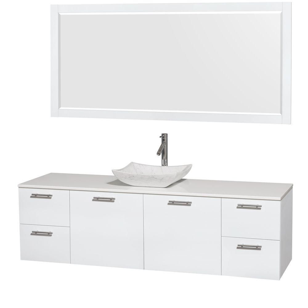Amare 72-inch W Vanity in White with Solid Top with White Basin and Mirror