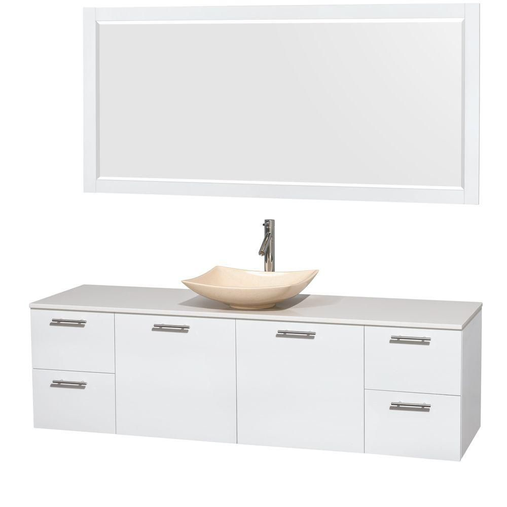 Amare 72-inch W Vanity in White with Solid Top with Ivory Basin and Mirror