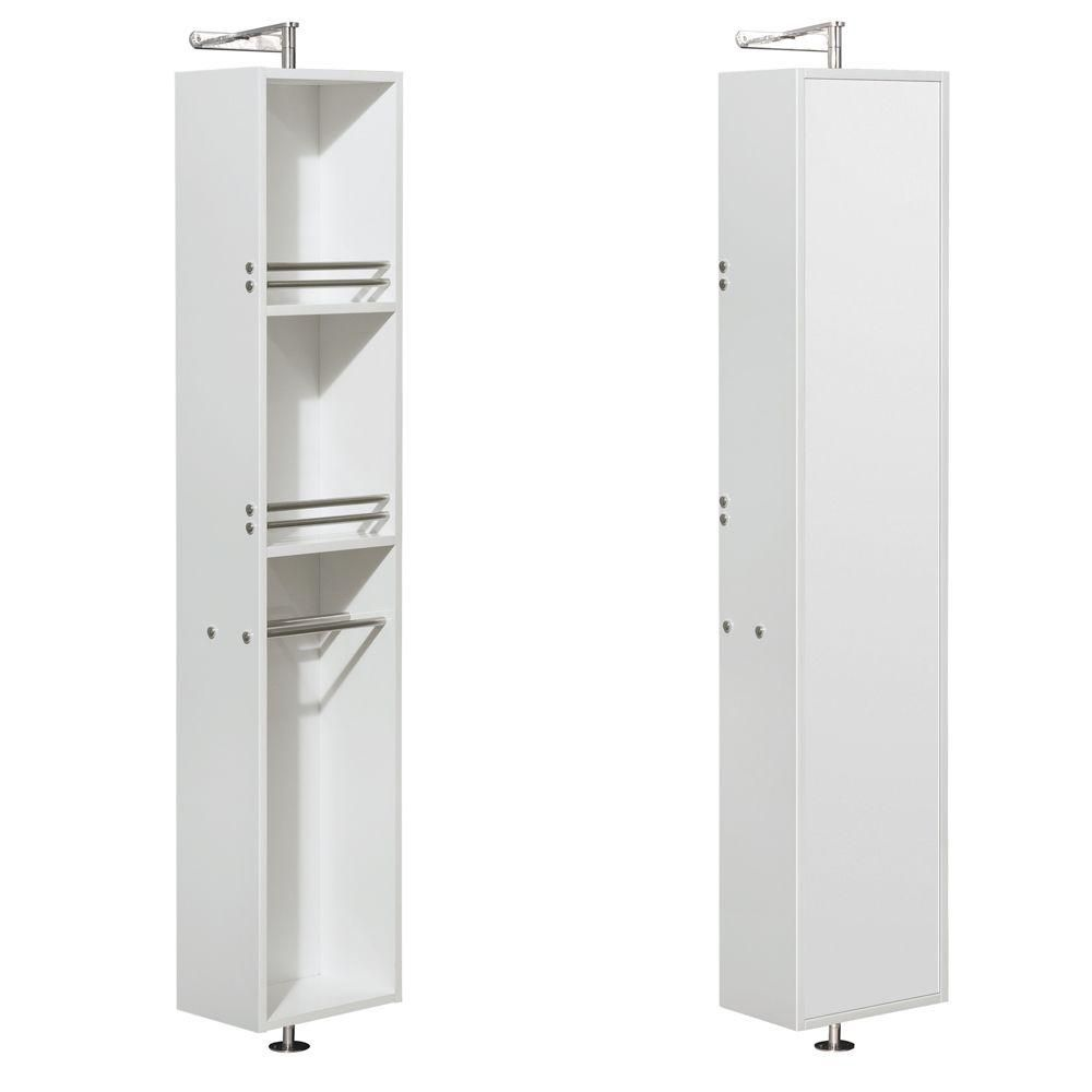 Amare Linen Tower & 360 Degree Rotating Floor Cabinet with Full-Length Mirror in Glossy White