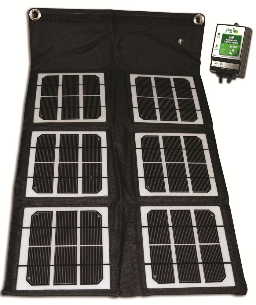 18-Watt Folding Solar Panel with 8 Amp Charge Controller for 12-Volt Charging