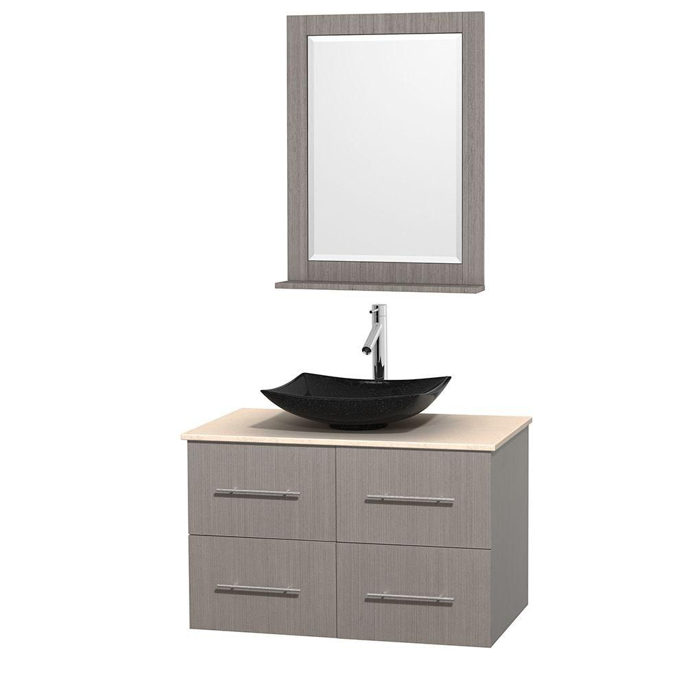 Centra 36-inch W Vanity in Grey Oak with Marble Top in Ivory with Black Basin and Mirror