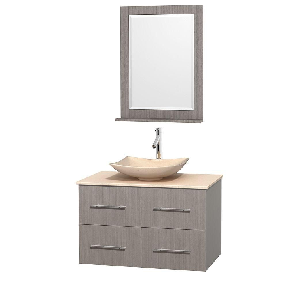Centra 36-inch W Vanity in Grey Oak with Marble Top in Ivory with Ivory Basin and Mirror