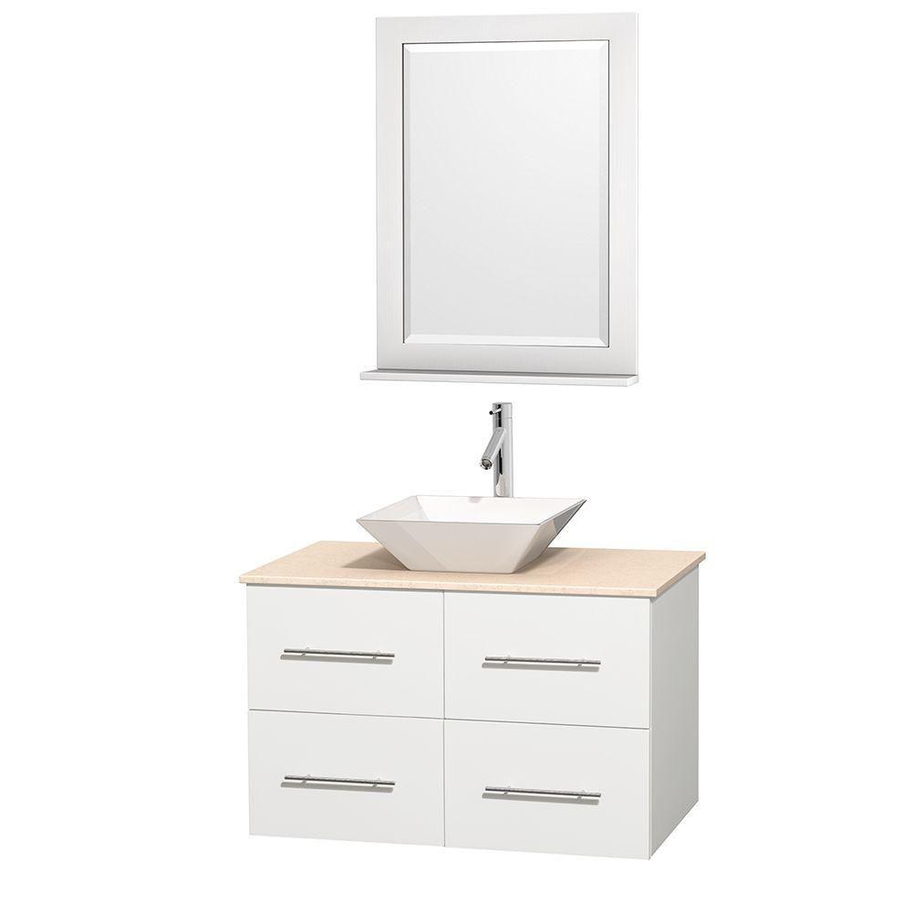 Meuble unique Centra 36 po. blanc, comptoir marbre ivoire, lavabo porcelaine blanche, miroir 24 p...