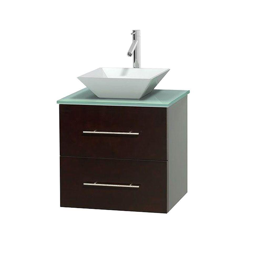 Meuble unique Centra 24 po. espresso, comptoir verre vert, lavabo porcelaine blanche sans miroir