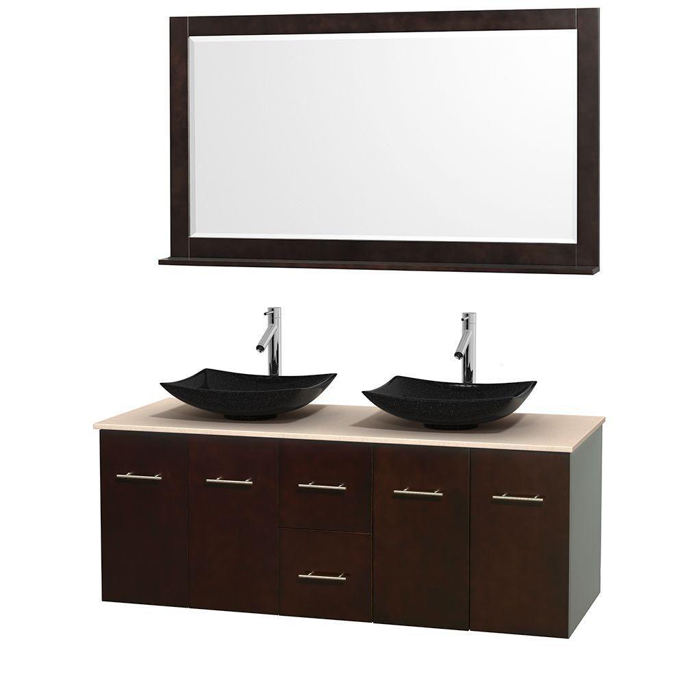 Meuble double Centra 60 po. espresso, comptoir marbre ivoire, lavabos granit noir, miroir 58 po.