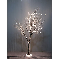 Lighted Snowy Tree with Bird Nest, 120 LEDS Lights, Indoor Only, with wooden base, AC Adaptor, Item Size: 23.5 inch  x 39.5 inch  x 78.5 inch H