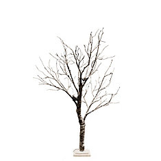 Lighted Snowy Tree with Bird Nest, 64 LEDS Lights, Indoor Only, with wooden base, AC Adaptor, Item Size: 23.5 -inch  x 16 -inch  x 51 -inch H