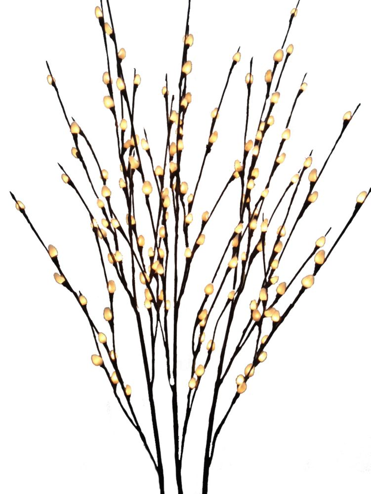 Floral Lights - Lighted Pussy Willow Branch (Set of 3 branches), with 144 lights, Indoor only, 48...