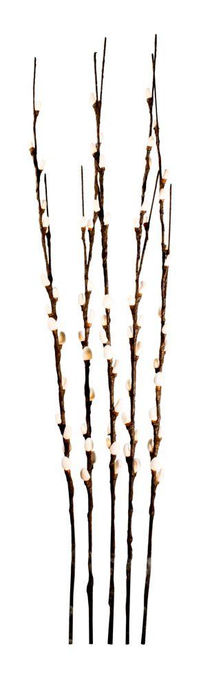 Lumières florales.  Branches de saule blanc. Ensemble de 5 branches. 80 lumières DELS. Intérieur ...