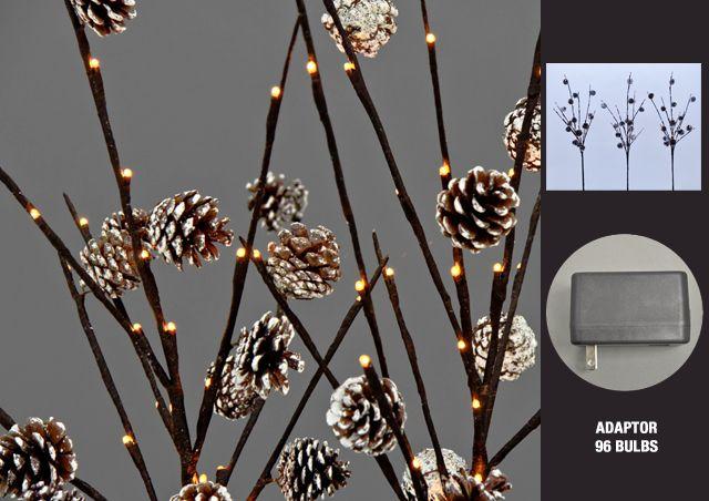 Lumières florales.   Ensemble de 3 branches ornées de pomme de pin,  96 lumières DELS. Intérieur ...