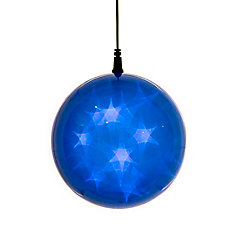 6 -inch  Hologram Starburst Hanging Ball Sphere - 24 Blue LED Lights - Battery Operated (3 Functions)