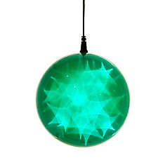6 -inch  Hologram Starburst Hanging Ball Sphere - 24 Green LED Lights - Battery Operated (3 Functions)