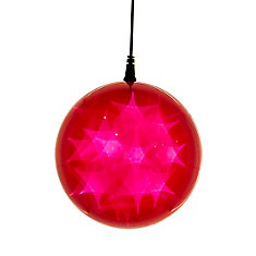6 -inch  Hologram Starburst Hanging Ball Sphere - 6 -inch  Diameter - 24 Red LED Lights - Battery Operated (3 Functions)