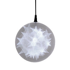 6 -inch  Hologram Starburst Hanging Ball Sphere - 24 Cool White LED Lights - Battery Operated (3 Functions)