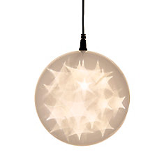 6 -inch  Hologram Starburst Hanging Ball Sphere - 24 Warm White LED Lights - Battery Operated (3 Functions)