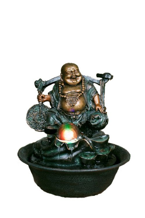 Fountain - Lucky Buddha with spinning ball, 10 Inch H