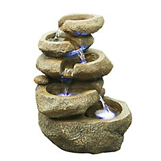 14-inch H 5-Level Rock Fountain with RGB LED Lights