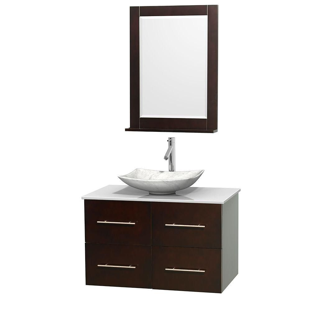 Centra 36-inch W Vanity in Espresso with Stone Top with White Basin and Mirror