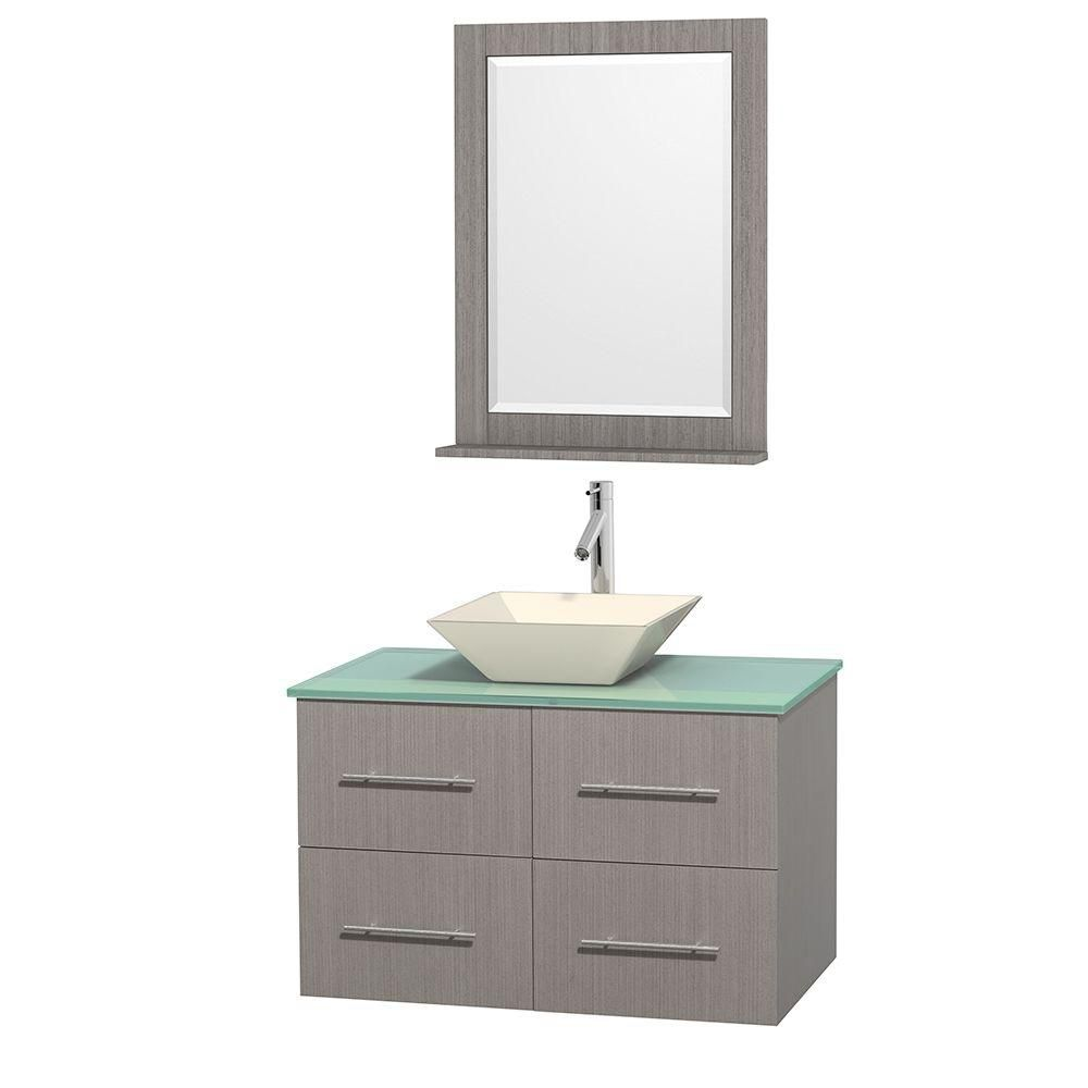 Centra 36-inch W Vanity in Grey Oak with Glass Top with Bone Basin and Mirror