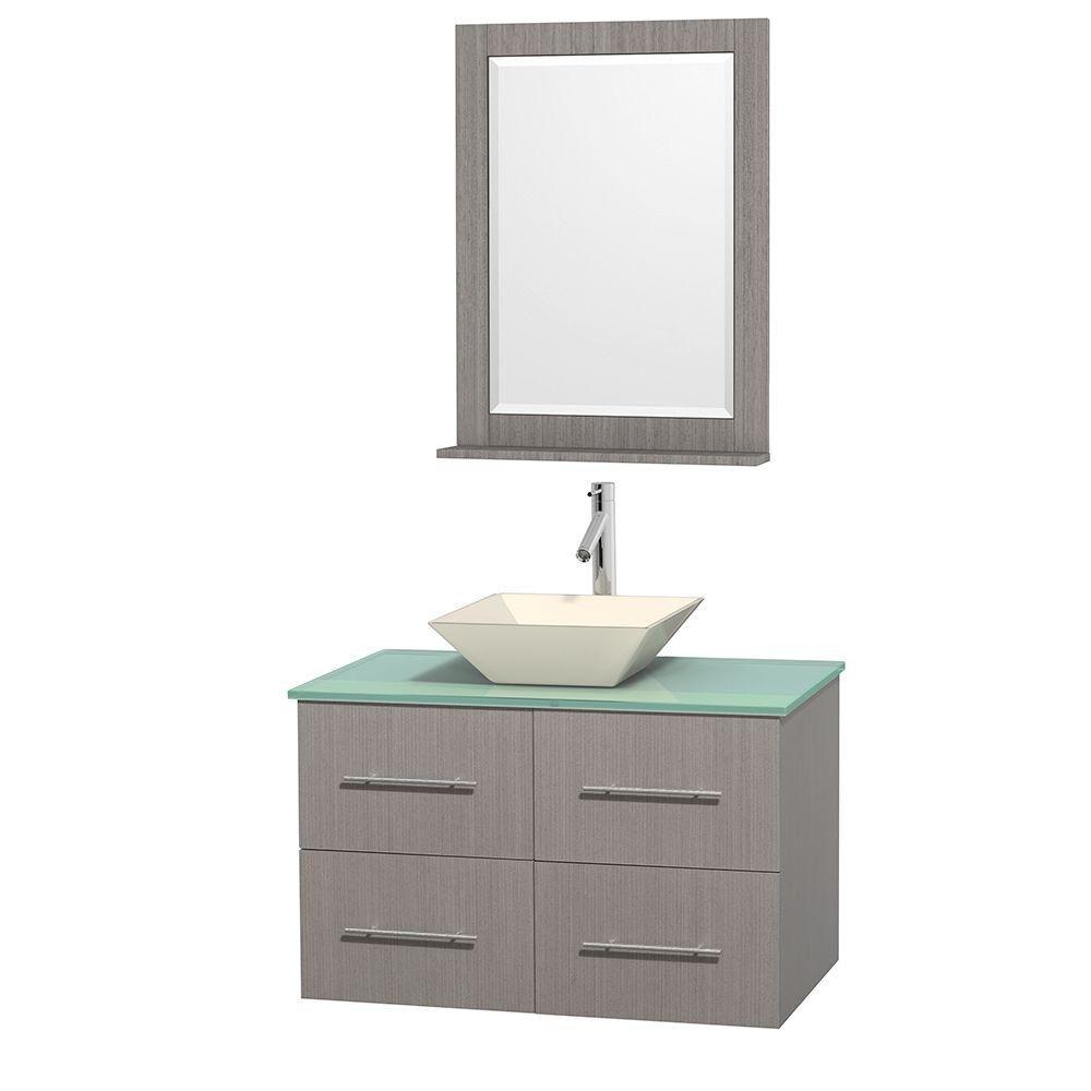 Meuble unique Centra 36 po. chêne gris, comptoir verre vert, lavabo porcelaine bone, miroir 24 po...