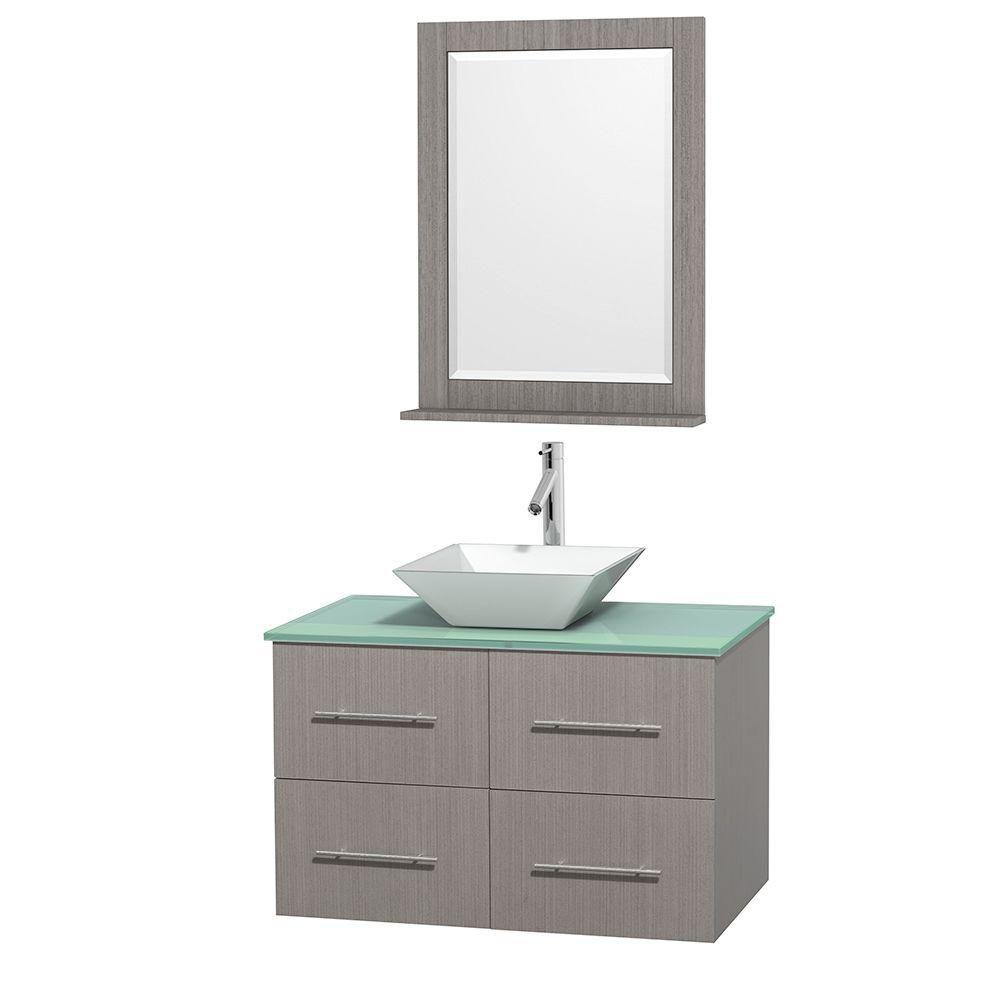 Meuble unique Centra 36 po. chêne gris, comptoir verre vert, lavabo porcelaine blanche, miroir 24...
