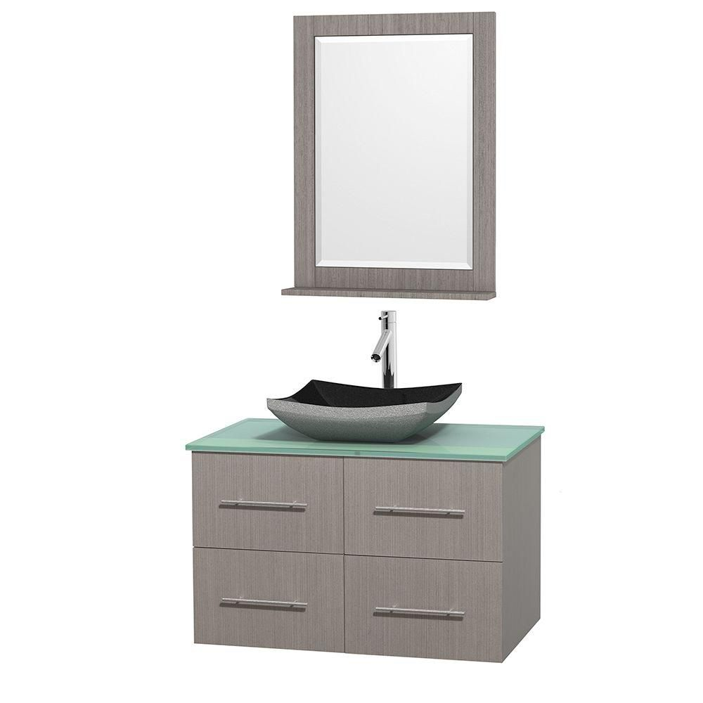 Centra 36-inch W Vanity in Grey Oak with Glass Top with Black Basin and Mirror