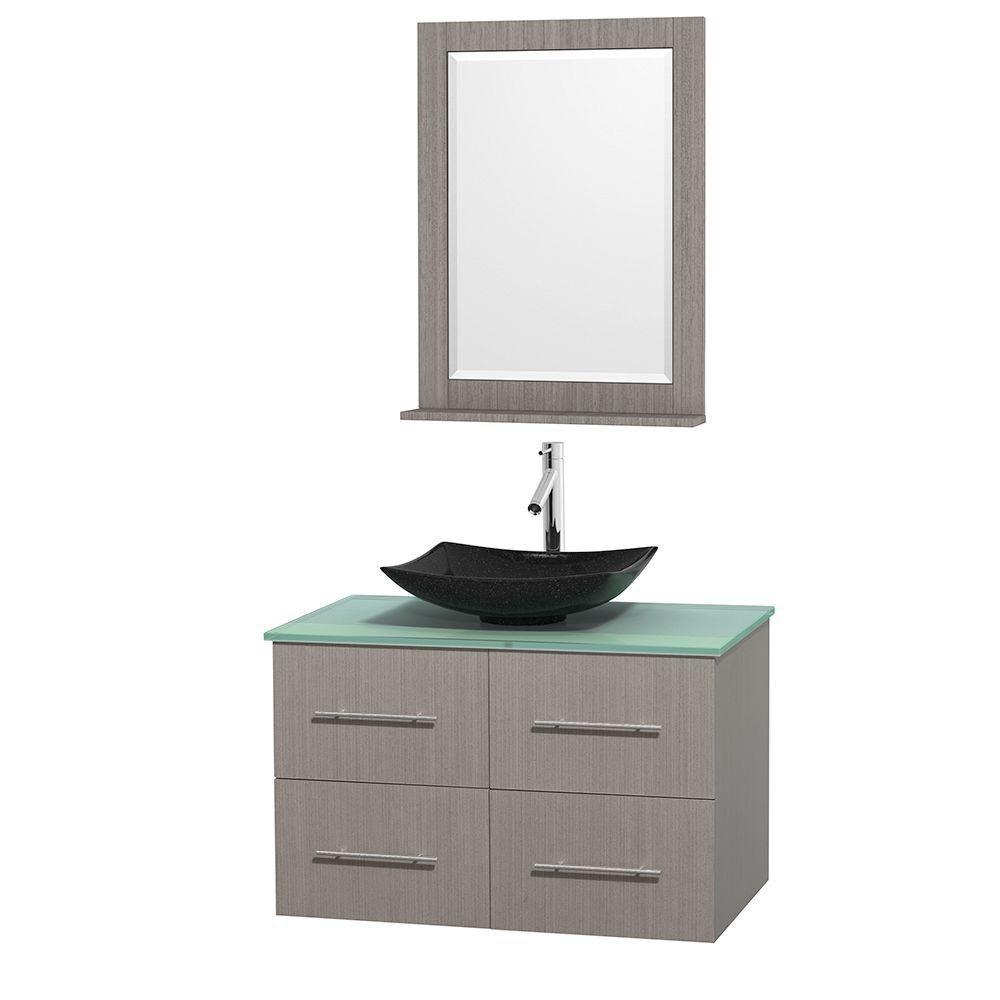 Meuble simple Centra 36 po. chêne gris, comptoir verre vert, lavabo granit noir, miroir 24 po.