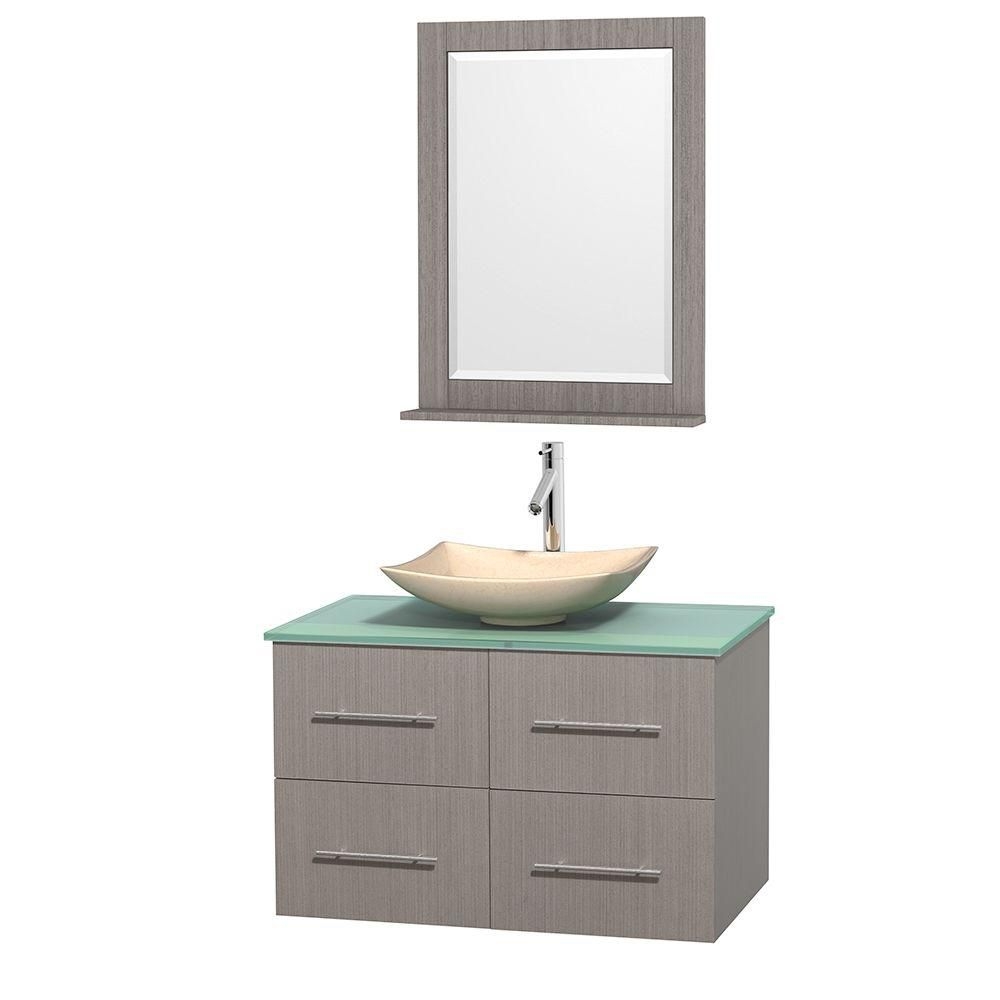 Centra 36-inch W Vanity in Grey Oak with Glass Top with Ivory Basin and Mirror