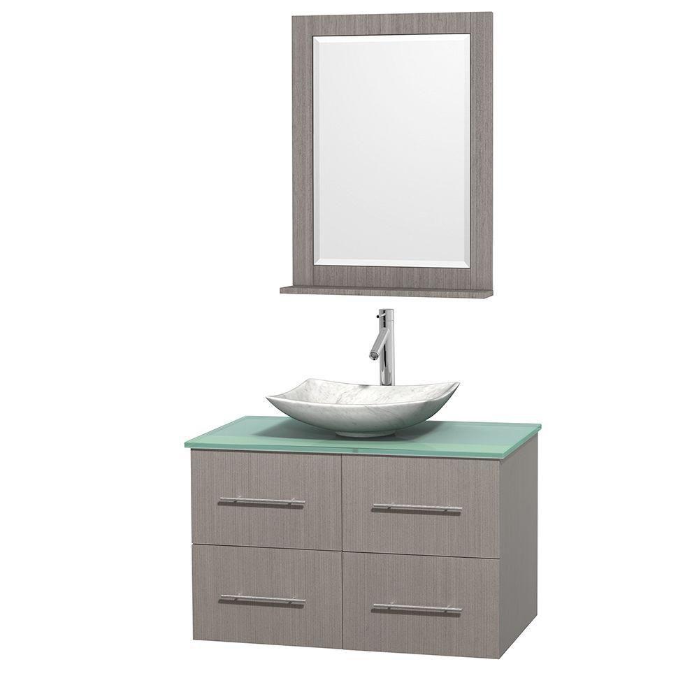 Meuble simple Centra 36 po. chêne gris, comptoir verre vert, lavabo blanc Carrare, miroir 24 po.