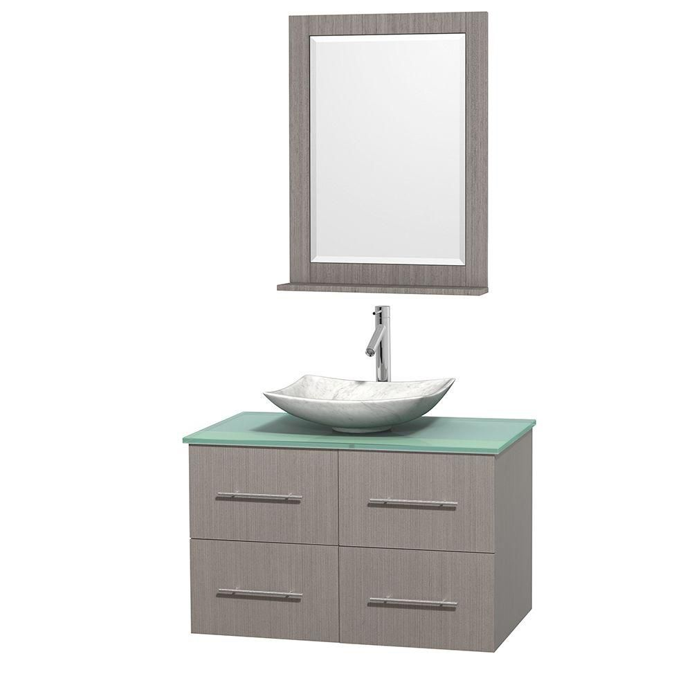 Centra 36-inch W Vanity in Grey Oak with Glass Top with White Sink and Mirror