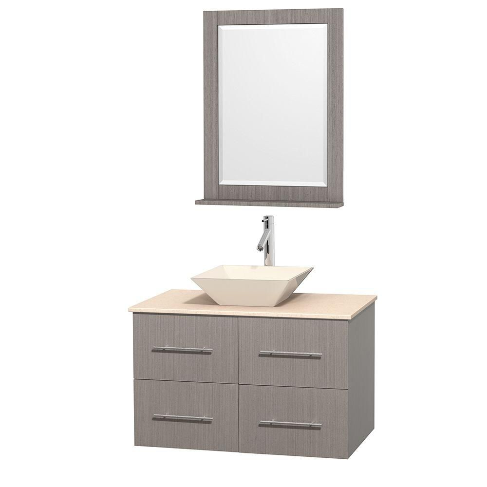 Centra 36-inch W Vanity in Grey Oak with Marble Top in Ivory with Bone Sink and Mirror