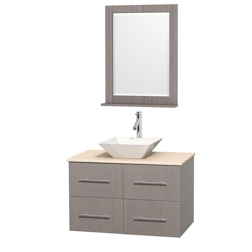Meuble unique Centra 36 po. chêne gris, comptoir marbre ivoire, lavabo porcelaine blanche, miroir...
