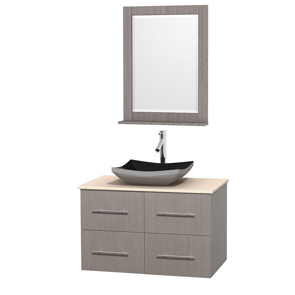 Meuble simple Centra 36 po. chêne gris, comptoir marbre ivoire, lavabo granit noir, miroir 24 po.