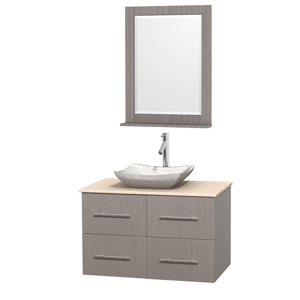 Centra 36-inch W Vanity in Grey Oak with Marble Top in Ivory and White Basin and Mirror