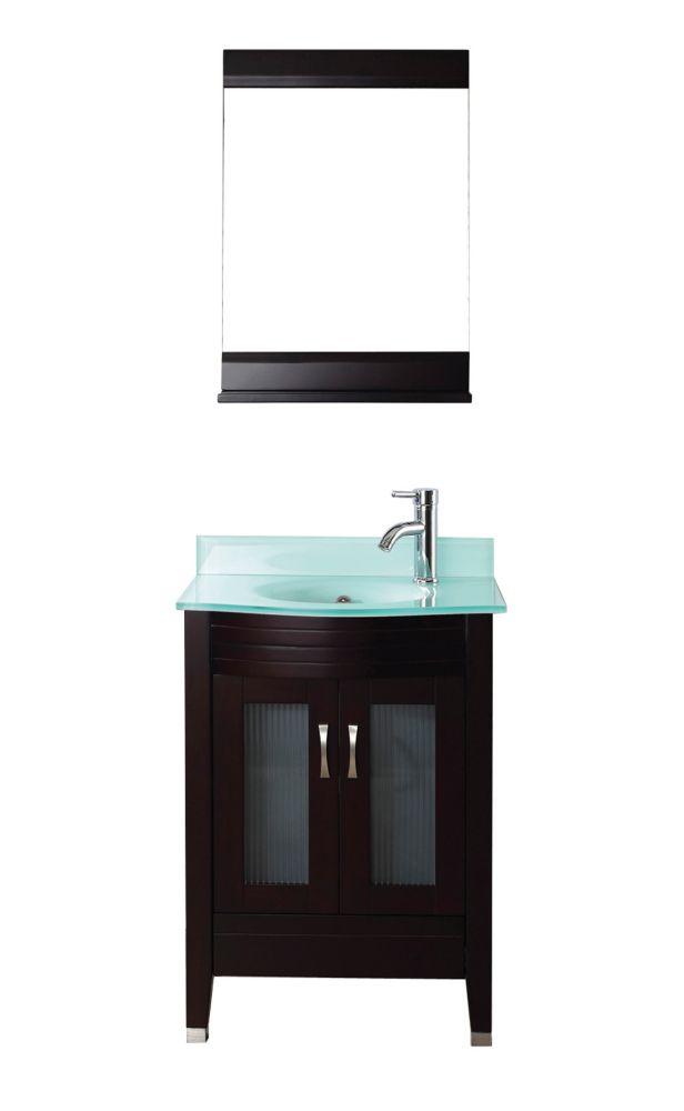 Vanité Alba 24 de couleur chai / verre avec miroir et robinet