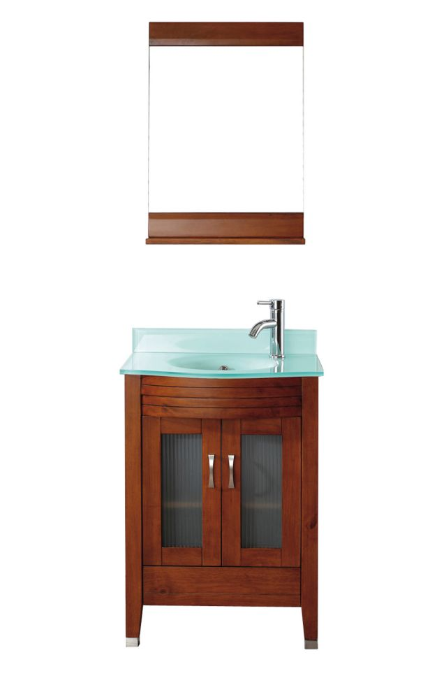 Alba 24-inch W Vanity in Classic Cherry/Glass with Mirror and Faucet