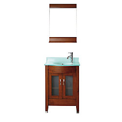 Art Bathe Alba 24-inch W 1-Drawer 2-Door Vanity in Brown With Acrylic Top in Green With Faucet And Mirror