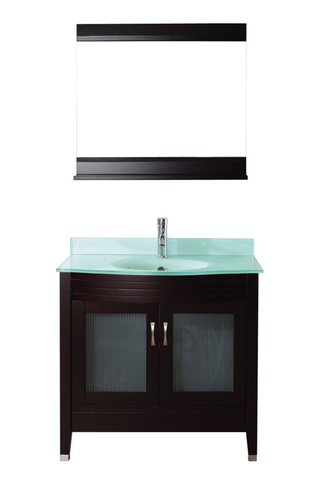 Art Bathe Alba 36-inch W 1-Drawer 2-Door Vanity in Brown With Acrylic Top in Green With Faucet And Mirror
