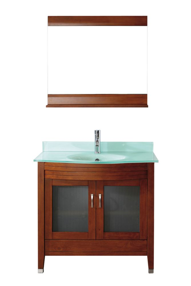 Alba 36-inch W Vanity in Classic Cherry/Glass with Mirror and Faucet