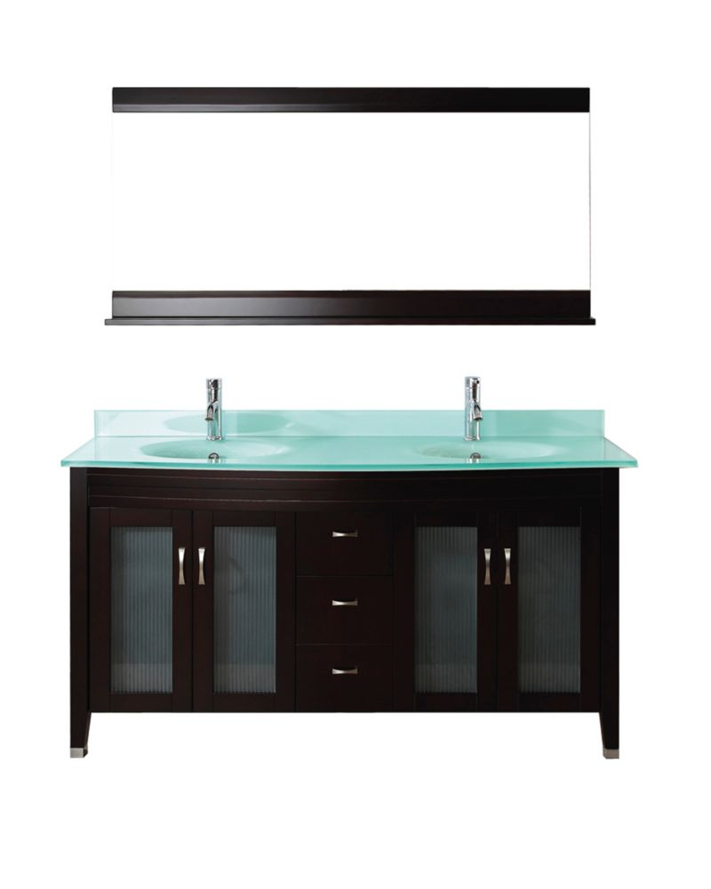 Alba 63-inch W Vanity in Chai/Glass with Mirror and Faucet