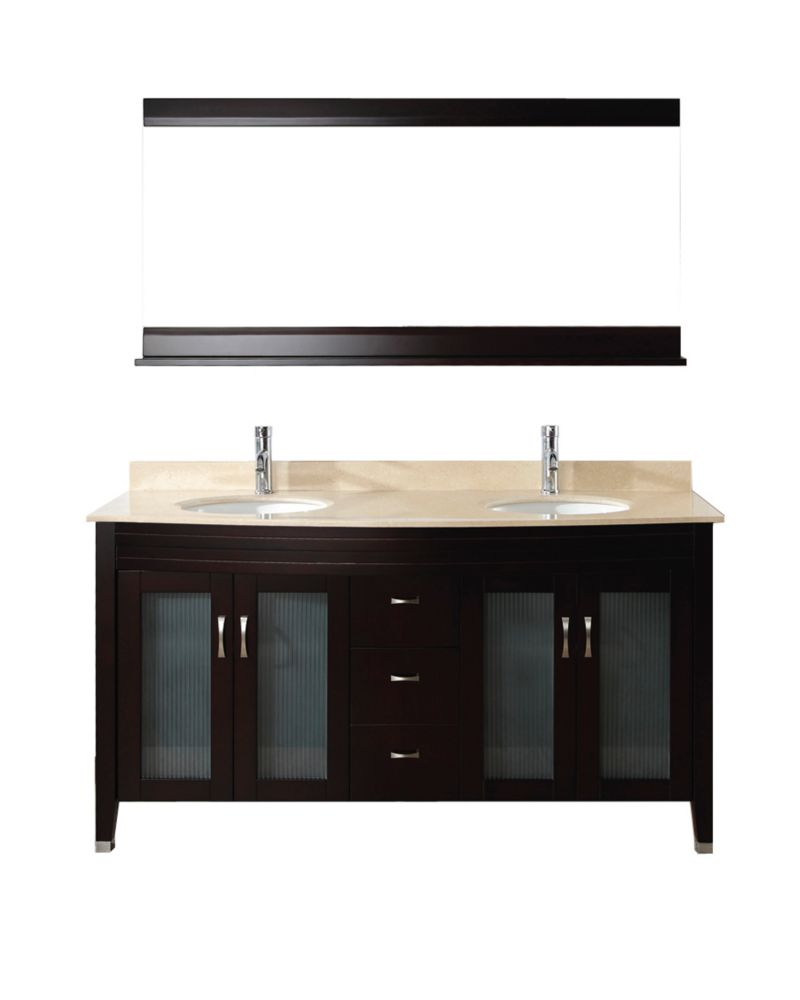 Alba 63-inch W Vanity in Chai/Beige with Mirror and Faucet