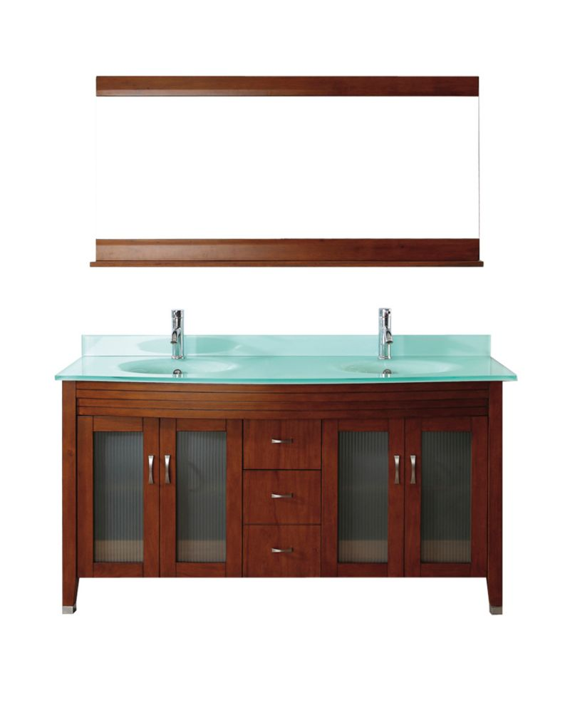 Alba 63-inch W Vanity in Classic Cherry/Glass with Mirror and Faucet