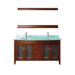 Art Bathe Alba 63-inch W 4-Drawer 4-Door Vanity in Brown With Acrylic Top in Green, Double Basins