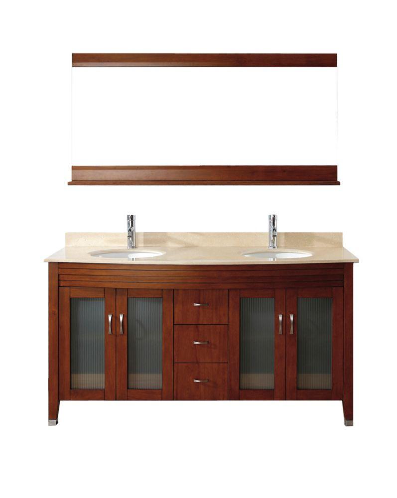 Art Bathe Alba 63-inch W 4-Drawer 4-Door Vanity in Brown With Marble Top in Beige Tan, Double Basins