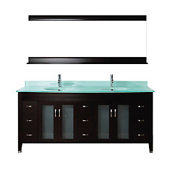 Art Bathe Alba 75-inch W 8-Drawer 4-Door Vanity in Brown With Acrylic Top in Green, Double Basins