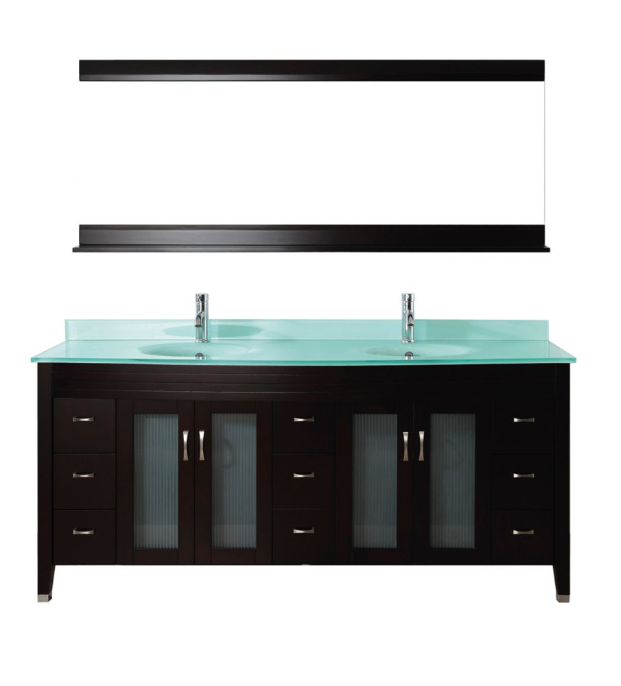 Alba 75-inch W Vanity in Chai/Glass with Mirror and Faucet